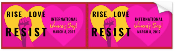 Code Pink Women's Day art made into a bumpersticker