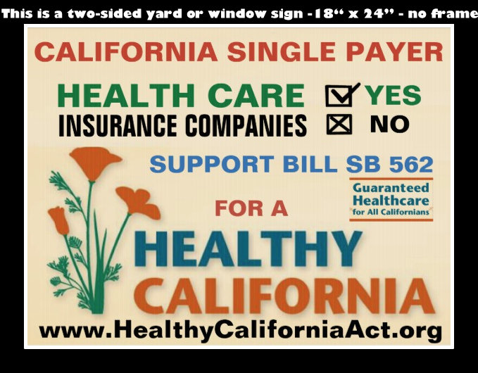 this is a two sided YARD or WINDOW sign - no frame - support SINGLE PAYER, save the US $500 Billion dollars a year